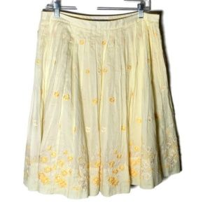 Banana Republic skirt pleated flowers yellow 10